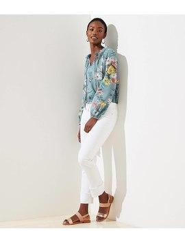 Modern Cuff Straight Leg Jeans In White by Loft