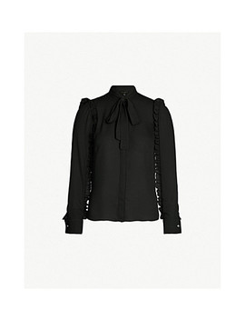 Ruffle Sleeved Tie Neck Crepe Blouse by Ted Baker