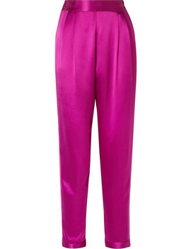 Grosgrain Trimmed Silk Satin Tapered Pants by Fleur Du Mal