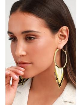 Maverick Black And Lime Green Beaded Hoop Earrings by Lulus