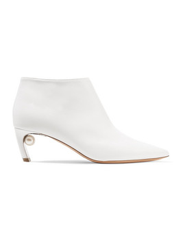 Mira Faux Pearl Embellished Leather Ankle Boots by Nicholas Kirkwood