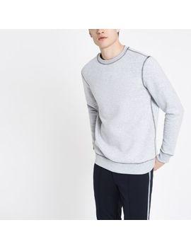 Grey Marl Contrast Stitch Slim Fit Sweatshirt by River Island