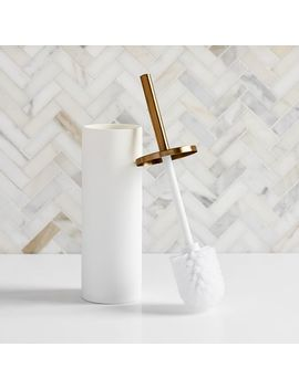 Modern Resin Stone Toilet Brush Holder by West Elm