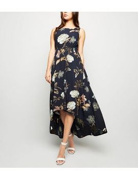 Blue Vanilla Navy Floral Dip Hem Dress by New Look