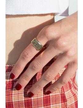 Gold Rectangular Signet Ring by Brandy Melville