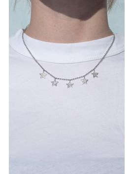 Silver Rhinestone Star Necklace by Brandy Melville