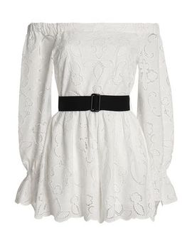 Off The Shoulder Belted Broderie Anglaise Playsuit by Perseverance