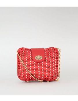 Red Straw Effect Cross Body Box Bag by New Look