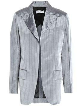 Pinstriped Crushed Satin Twill Blazer by Sonia Rykiel