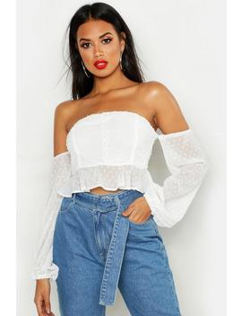 Dobby Spot Off Shoulder Long Sleeve Crop Top by Boohoo