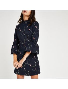 Chi Chi London Navy Floral Embroidered Dress by River Island