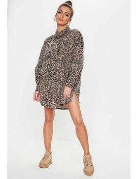 Brown Leopard Print Super Oversized Denim Shirt by Missguided