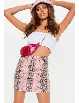 Pink Snake Print Superstretch Denim Mini Skirt by Missguided