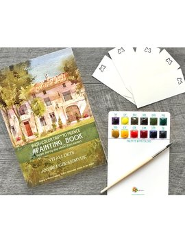 France Watercolor Artbook Tutorial Kit Paints Brush Learn Instruction Step By Step Lessons Gift How To Painting Coloring Sketchbook by Etsy