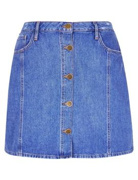 Plus Blue Button Front Denim Mini Skirt by River Island