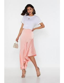 Drop Down Satin Midi Skirt by Nasty Gal