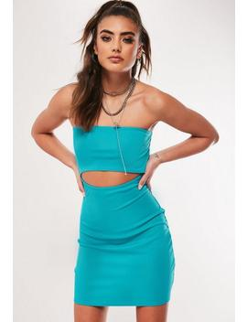 Neon Blue Bandeau Cut Out Mini Dress by Missguided
