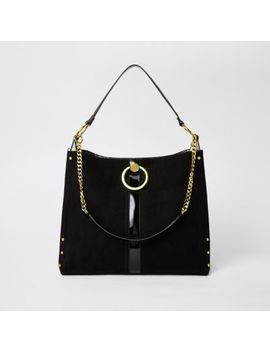 Black Circle Gold Chain Slouch Bag by River Island