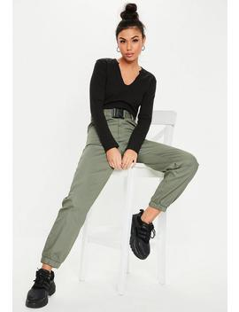 Khaki Twill Seatbelt Jogger Pants by Missguided