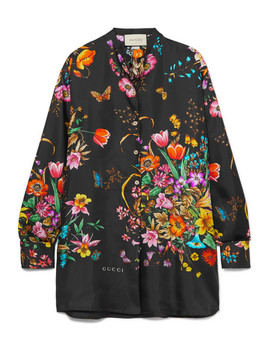 Oversized Floral Print Silk Twill Shirt by Gucci