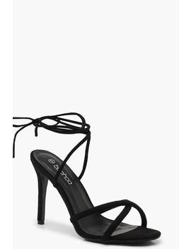 Wrap Strap Tubular Heel Sandals by Boohoo