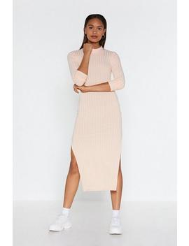 Slit Your Stide Ribbed Midi Dress by Nasty Gal