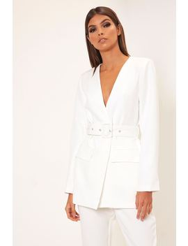 White Plunge Belted Blazer by I Saw It First