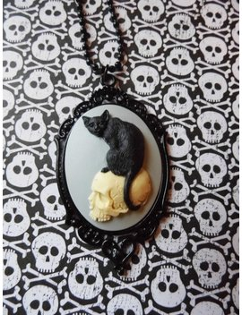 Black Cat Dead Skull Morbid Black Flower Goth Steampunk Rockabilly Necklace Pendant Cameo by Etsy