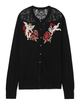 Lace Paneled Intarsia Wool Blend Cardigan by Dolce & Gabbana