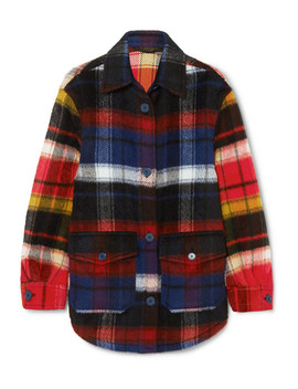 Checked Brushed Alpaca And Wool Blend Shirt by Burberry