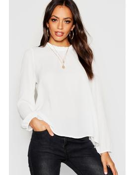 Frill Neck Long Sleeve Woven Blouse by Boohoo