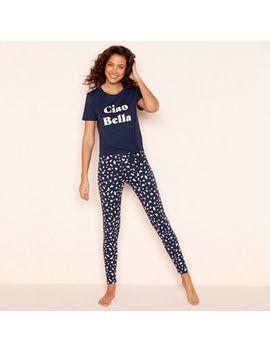 Lounge & Sleep   Navy 'ciao Bella' Pyjama Set by Lounge & Sleep