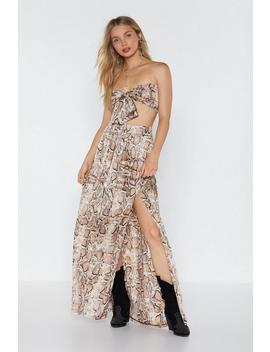 Snake Ing The Big Bucks Bandeau Top And Maxi Skirt Set by Nasty Gal