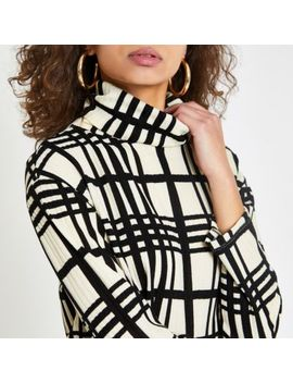 White Check Print High Neck Top by River Island