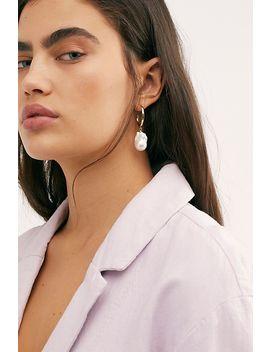 Baroque Pearl Hoop Earrings by Free People