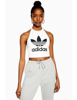 White Halter Logo Crop T Shirt By Adidas by Topshop