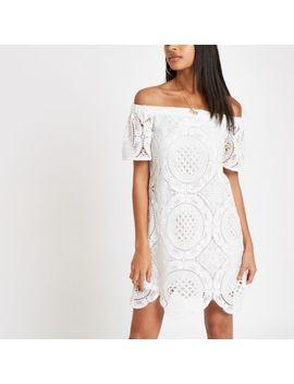 White Lace Bardot Swing Dress by River Island
