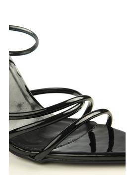 Black Patent Strappy Heels With Pointed Toe by I Saw It First
