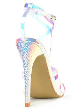 Multi Iridescent Strappy Heels Wit Pointed Toe by I Saw It First