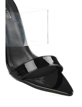 Black Patent Perspex Heeled Mules With Pointed Toe by I Saw It First
