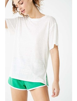 Linen Crew Neck Tee by Forever 21