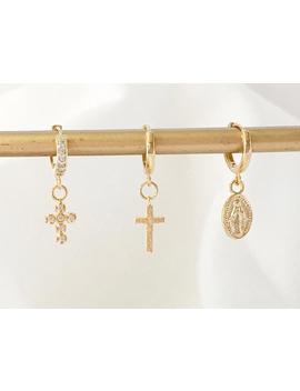 Gold Cross Huggie Earring,Dainty Cross Huggie Hoops,Dainty Virgin Mary Hoop Earring,Gold Cross Earring,Gold Virgin Mary Earring,Sku:Crvmer03 by Etsy