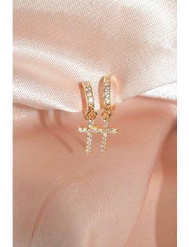 24k Gold Filled Diamond Cross Huggie Earrings / Dainty Hoops / Huggie Earrings / Cross Hoops / Cross Huggies / Cross Earrings/ Gifts For Her by Etsy