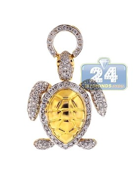 14 K Yellow Gold 0.87 Ct Diamond Womens Turtle Pendant by 24diamonds