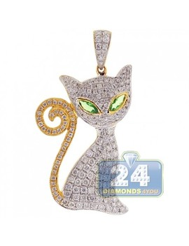 14 K Yellow Gold 1.89 Ct Diamond Cat Womens Pendant by 24diamonds