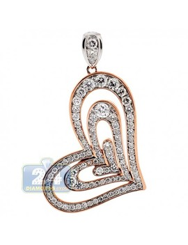 18 K Rose White Gold 1.81 Ct Diamond Layered Heart Pendant by 24diamonds
