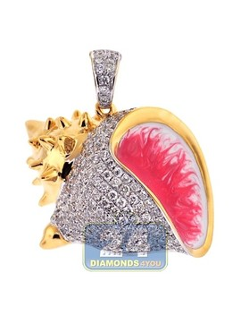 14 K Yellow Gold 2.01 Ct Diamond Sea Shell Womens Pendant by 24diamonds