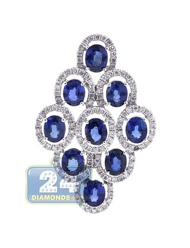 18 K White Gold 4.50 Ct Diamond Sapphire Halo Rhombus Pendant by 24diamonds