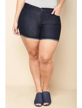 Plus Size Dark Denim Cuffed Shorts by Gs Love