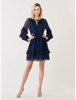 Haven Silk Chiffon Drop Waist Mini Dress by Dvf